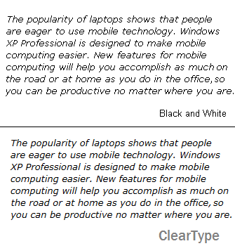 Comparison of the text with cleartype on and off